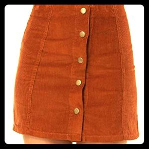 Dresses & Skirts - Rusty red/brown Corduroy button up skirt